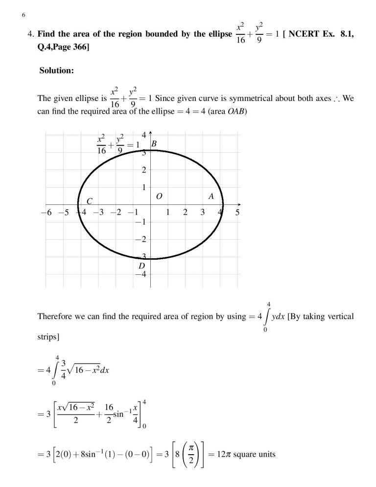 Find the area of the region bounded by the ellipse x^2/16 + y^2/9 = 1, 9x^2+16y^2=144 [ NCERT Ex. 8.1, Q.4,Page 366]