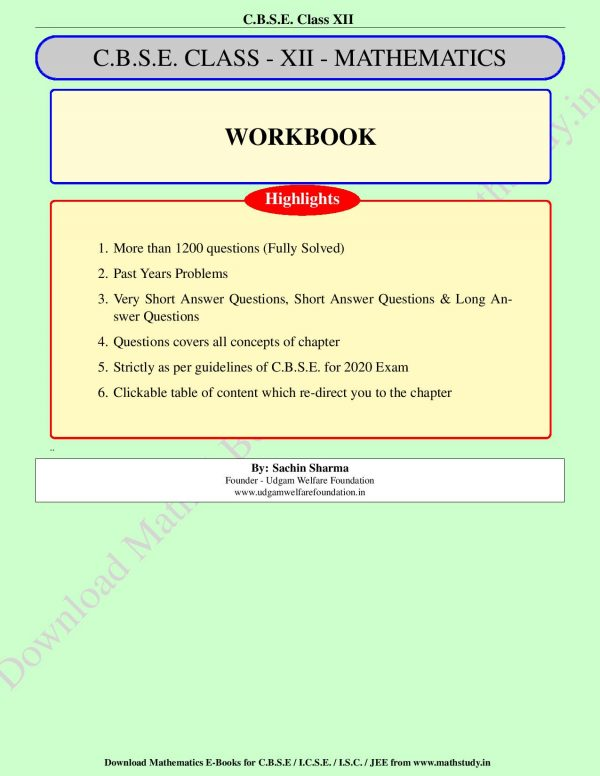 Work book Class XII Fully Solved CBSE