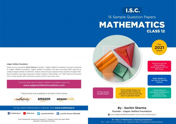 SAMPLE PAPERS MATHEMATICS CLASS XII -I.S.C. – 2021 EXAMINATION