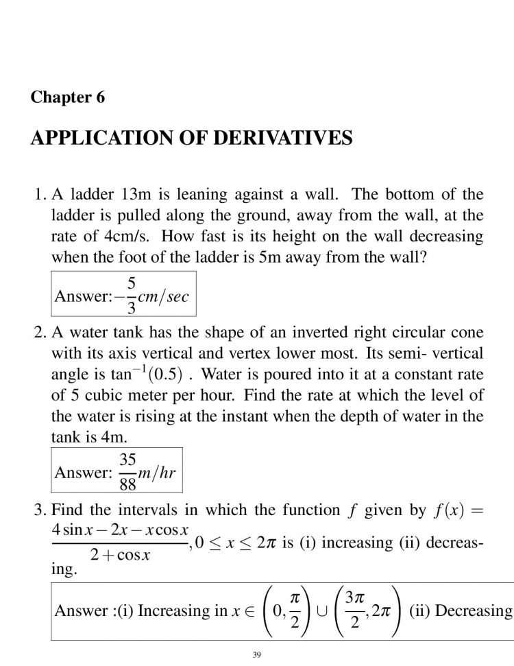 most important questions of mathematics for class 12